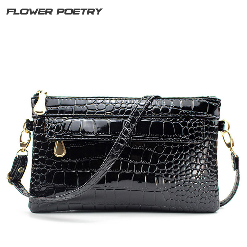 Women Small Shoulder Crossbody Bag Simple Style PU Leather Black Luxury Crocodile Clutch Pouch Bags Bolsos Evening Party Handbag black simple style pu leather sports gym bag for men fitness shoulder handbags crossbody bags travel training duffle handbag