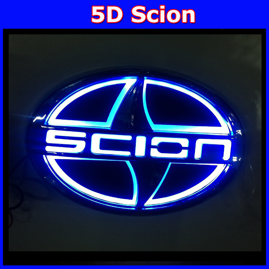 wholesales New 5D logo light scion Car Styling Stickers Decal Logo Badge Emblem Light Lamp Auto Lamp Bulb For Scion MOQ: 10 sets 1 car styling white red blue 3d led decal front tail rear logo light badge lamp emblem sticker for all car models