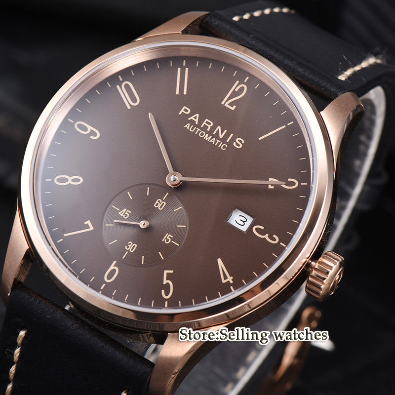 new arrive 42mm parnis Rose gold case Coffee dial date window ST 1731 automatic MENS watch цена и фото
