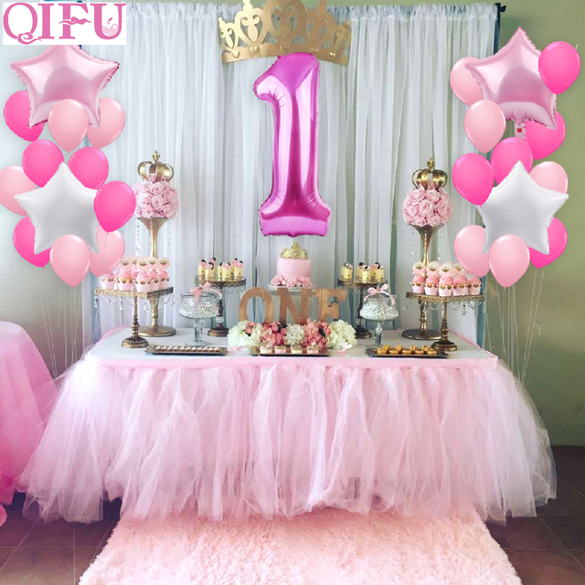QIFU 1st Birthday Balloon Boy Foil Number Ballon One Year Happy Girl Decor Baby Shower