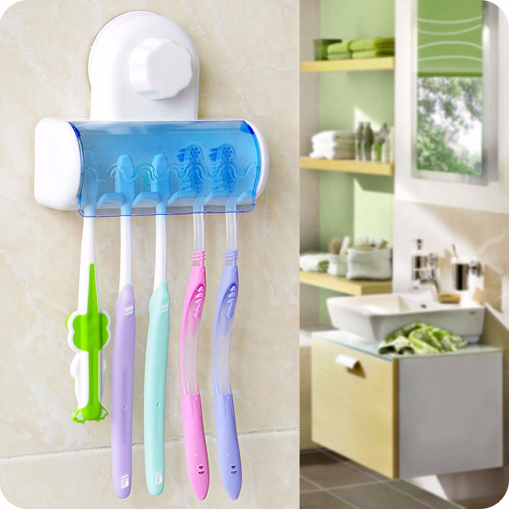 Toothbrush Spinbrush Plastic Suction 5 Toothbrush Holder Wall Mount Stand Rack Home Bathroom Accessories image