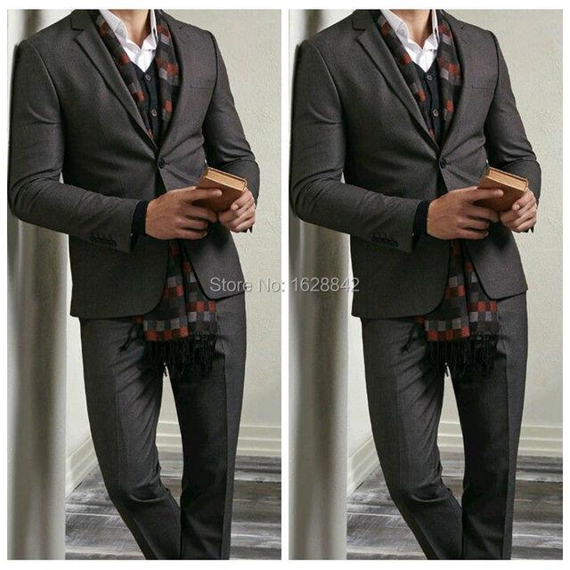 2016 Venta Caliente Negro Hombres Traje de 2 Piezas Trajes Formales De La Boda Para Los Hombres 2 Piezas Chaqueta + Pantalones Botones de Puño Tailor Made Tenros