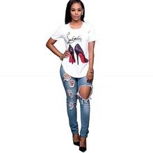 Showtly High-heeled shoes Female oversized Women T-shirt  Korean Fashion Clothing Streetwear Vogue T-shirts