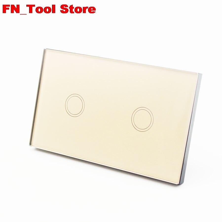 Interrupteur tactile 2 gangs 1 voie US standard panneau de verre cristal simple FireWire interrupteur mural tactile - 3