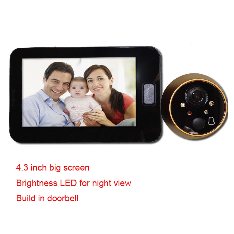Video Door Bell Peephole Door Camera 4 3 Inch Color Screen LED Lights Wired Ring Doorbell