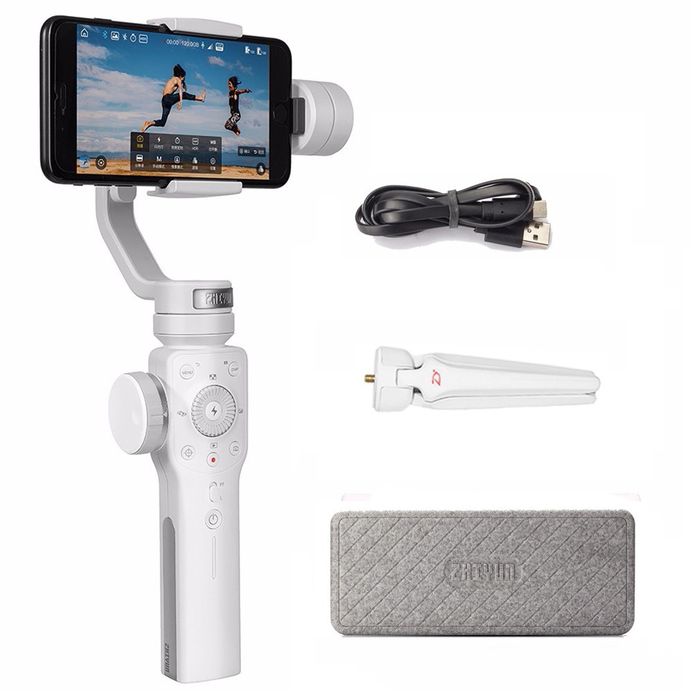 Zhiyun Smooth 4 3-Axis Handheld Smartphone Gimbal Stabilizer for iPhone XS Max XR X 8Plus 8 7P7 Samsung S9 S8 S7 & Action Camera wewow sport x1 handheld gimbal stabilizer 1 axis for gopro hreo 3 3 4 smartphone iphone 7 plus yi 4k sjcam aee action camera