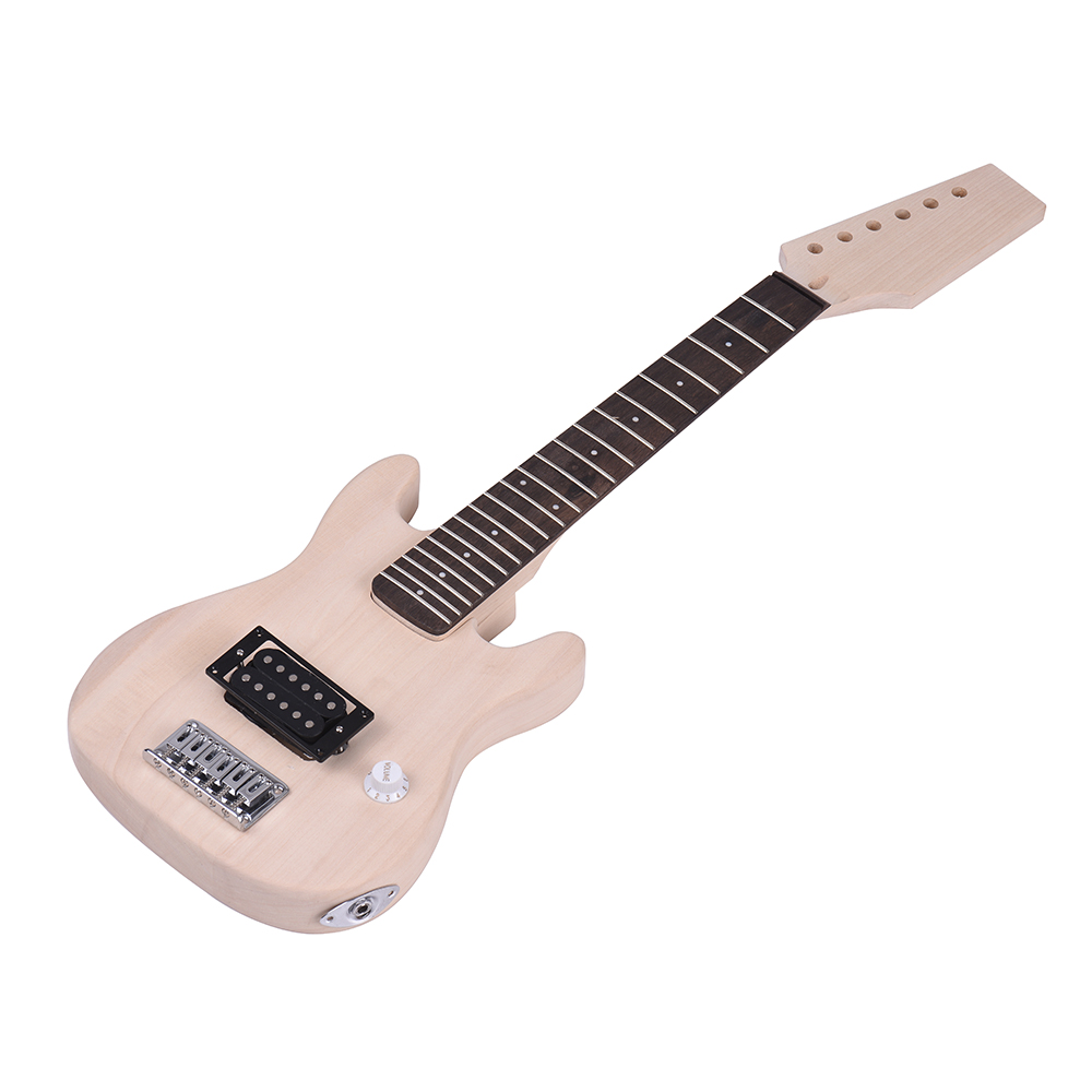 Good Quality Guitar ammoon Children Unfinished Electric Guitar DIY Kit Basswood Body Maple Wood Neck Rosewood