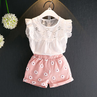 2018 Summer Baby Girls T Shirts And Shorts Suit 2 Pieces Children S Tops Sweet Flowers