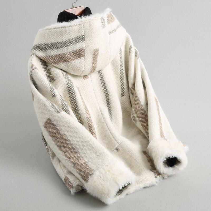 Fourrure Beige Chaud Laine Nouveau Mode D'agneau Manteaux Doublure Naturel De Épais Manteau Ayunsue Wyq1746 18603 2019 Femmes D'hiver À Capuche zHc1nR