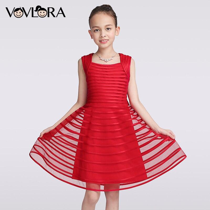 VOVLORA 2017 Новогоднее нарядное платье для девочек без рукавов до колен бирюзового темно-синего и красного цвета квадратный вырез высокое качес...