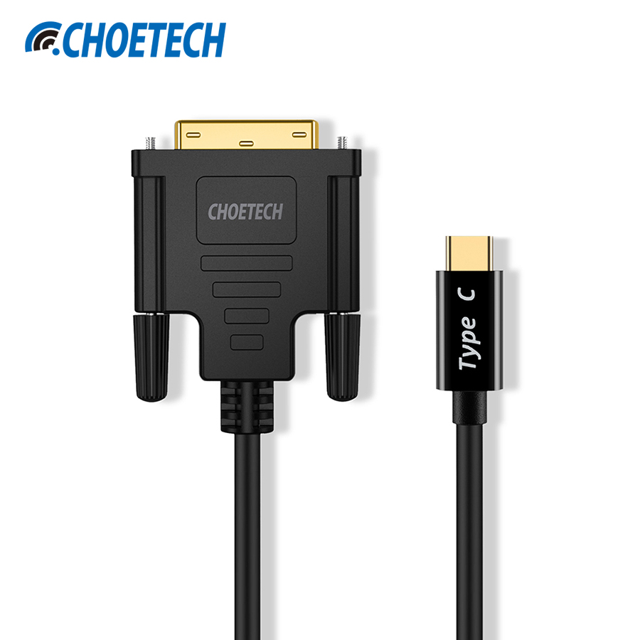 CHOETECH USB C to DVI Cable Adapter, 4K@30Hz USB 3.1 Type C (Thunderbolt 3 Compatible) to DVI(24+1) Cable for 2017 MacBook Pro