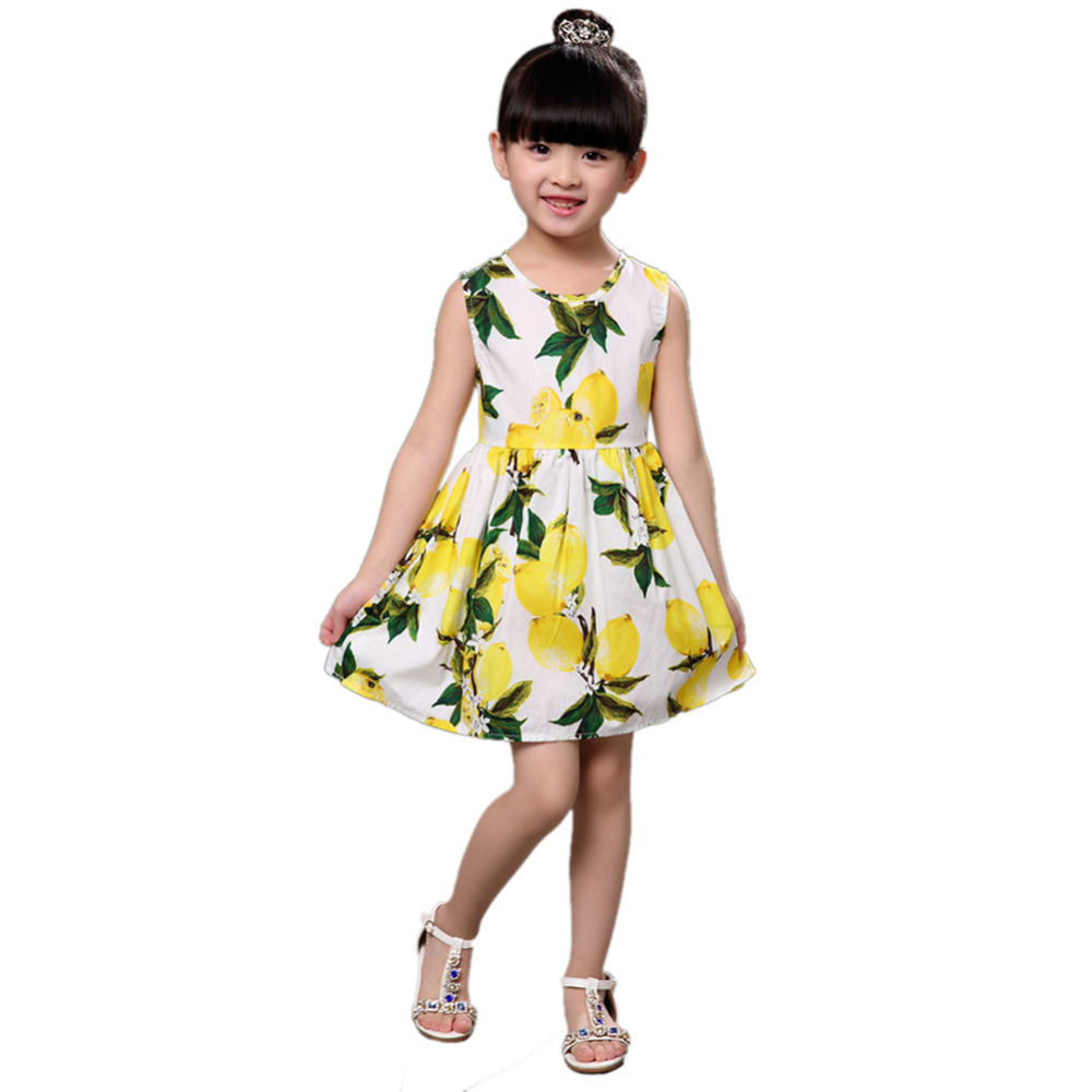 Girls Baby Dress 2018 Summer O-Neck Ermeløs Vest Floral Lemon Princess Party Kjoler Barn Kids Clothes Girl Beach Dress
