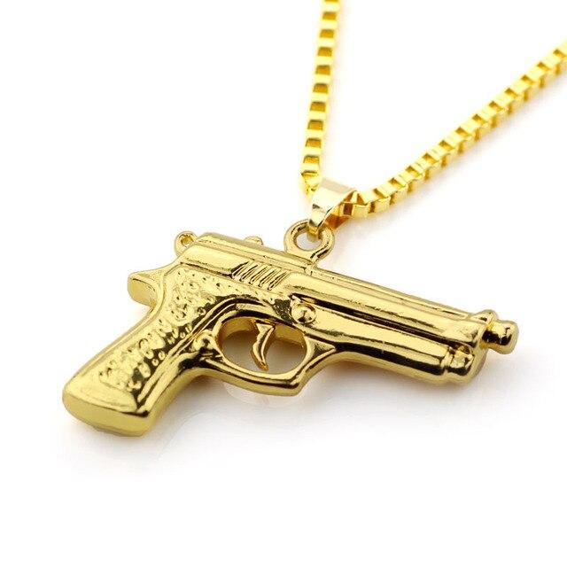 Drop Shipping Hip Hop Dance Charm Gun Necklace Star Pendent Men Franco Chain Hiphop Golden Necklace Uzi Gun Choker Necklace