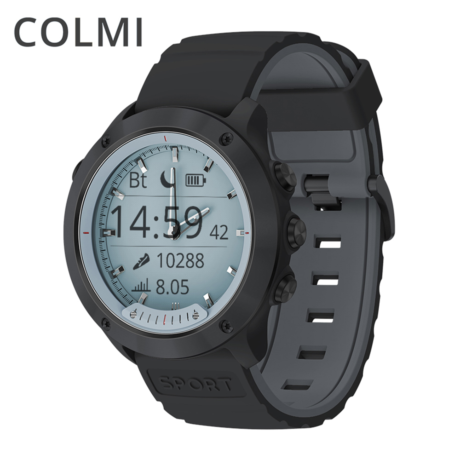 COLMI Smart watch M5 pantalla transparente IP68 impermeable manos luminosas pulsómetro bisel de acero inoxidable ala Smartwatch