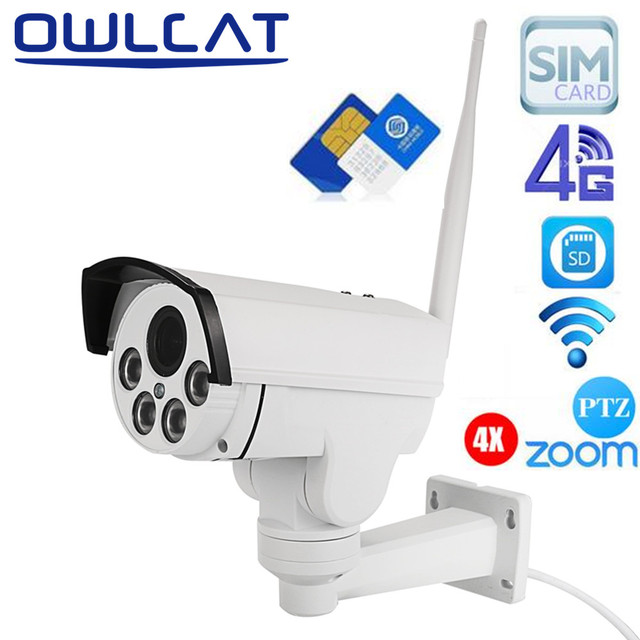 Owlcat 4G IP camera Sim Card WiFi CCTV camera PTZ HD 1080P 960P 4X Optical Zoom Auto Focus lens 2.8-12mm Security Video Camera