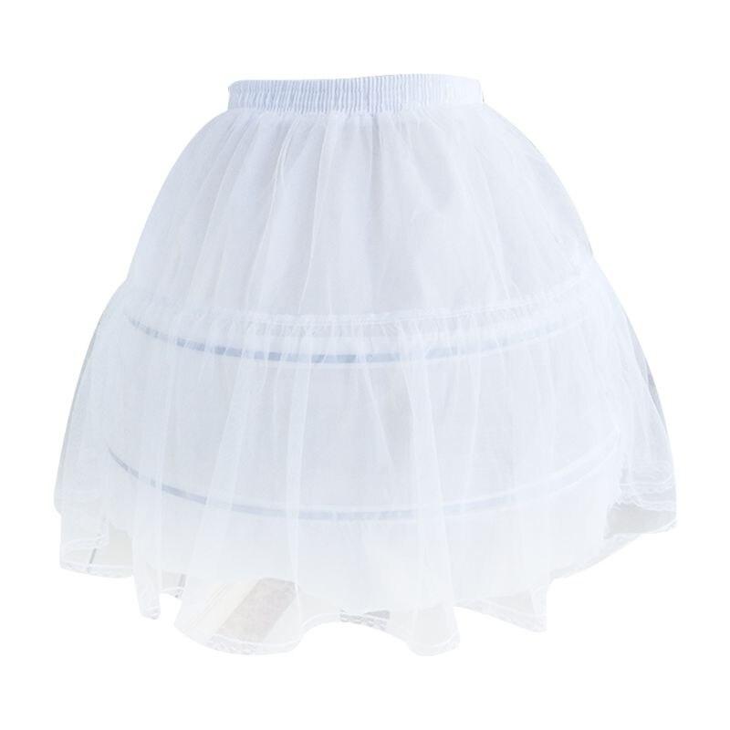 Women Bridal Single Layer Chiffon Lolita Short Petticoat Tutu Skirt 2 Steel Ring Hoop Floral Lace Trim Princess Bustle Wedding