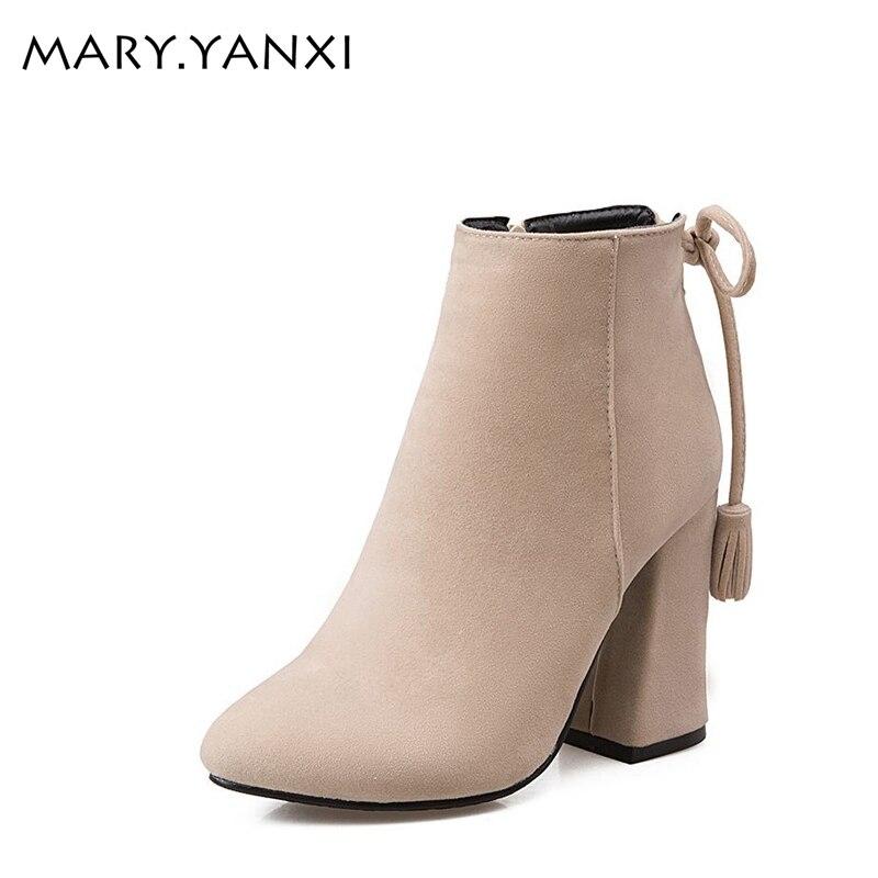Hot försäljning kvinnor skor mode Tassel Lace-Up Martin stövlar - Damskor