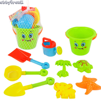 Abbyfrank 9 Pcs Set Beach Seaside Sand Toy Bath Playing Tools Bucket Cartoon Mold Shovel Creative