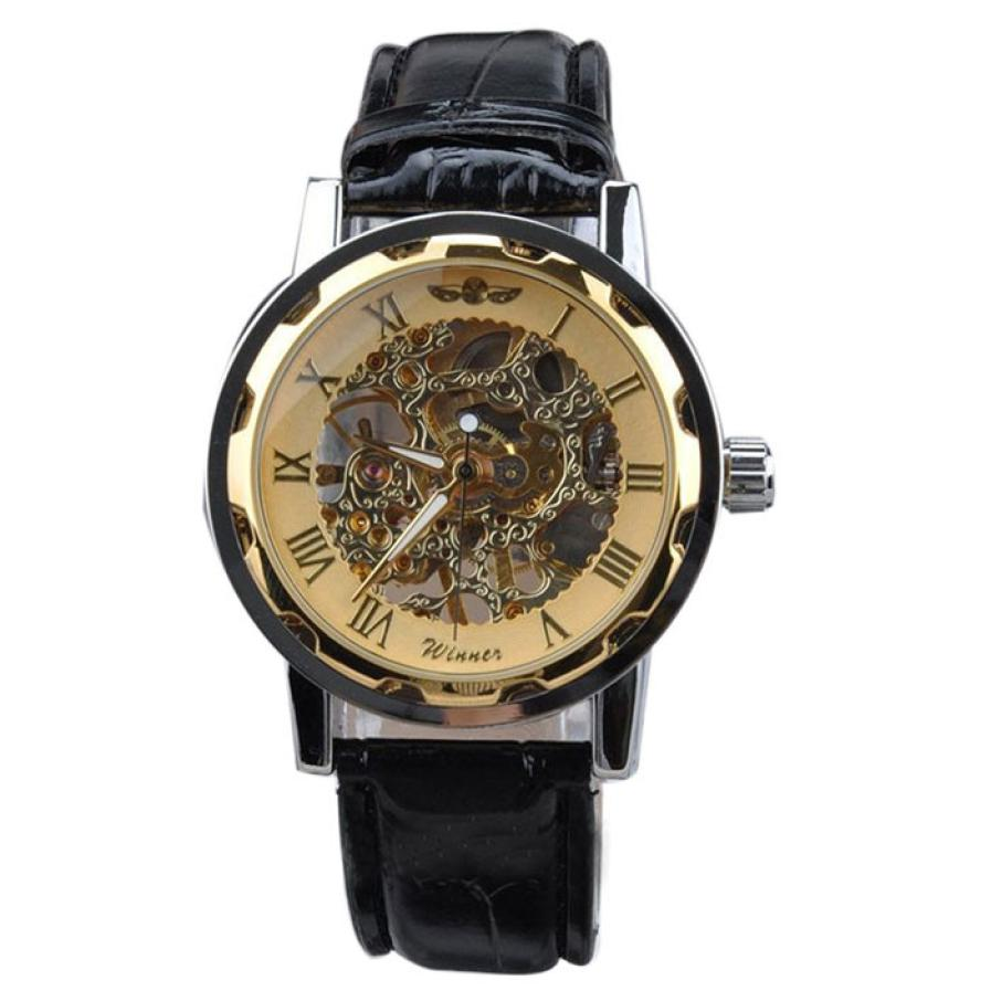 Men Classic Black PU Leather Gold Dial Skeleton Mechanical Sport Army Wrist Watches reloj hombre kol saati Good-looking JUN 24