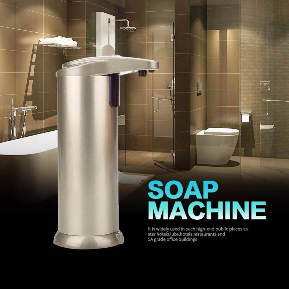 250ML Electroplated Automatic Liquid Soap Dispenser Smart Sensor Touchless Sanitizer Shampoo Dispensador For Kitchen Bathroom