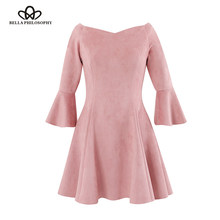 Bella Philosophie 2019 herbst winter neue slash neck off schulter rüschen hülse frauen skater kleid rosa faux wildleder(China)