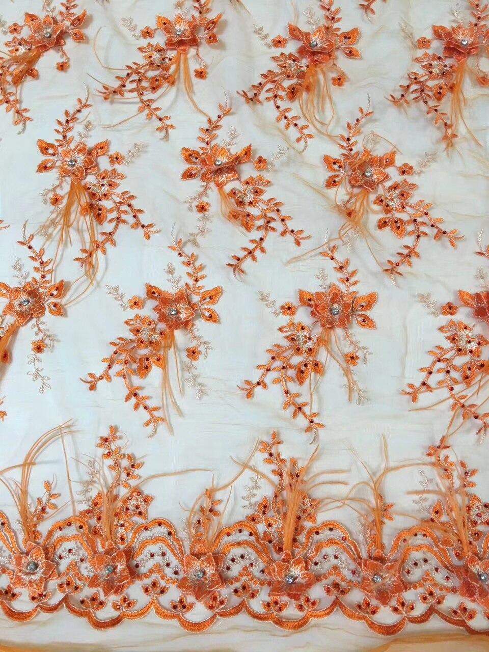 15 Yard 3D fleur africaine gros diamant mousseux dentelle tissus nigérian français dentelle tissu 2018 haute qualité plume Tulle tissu