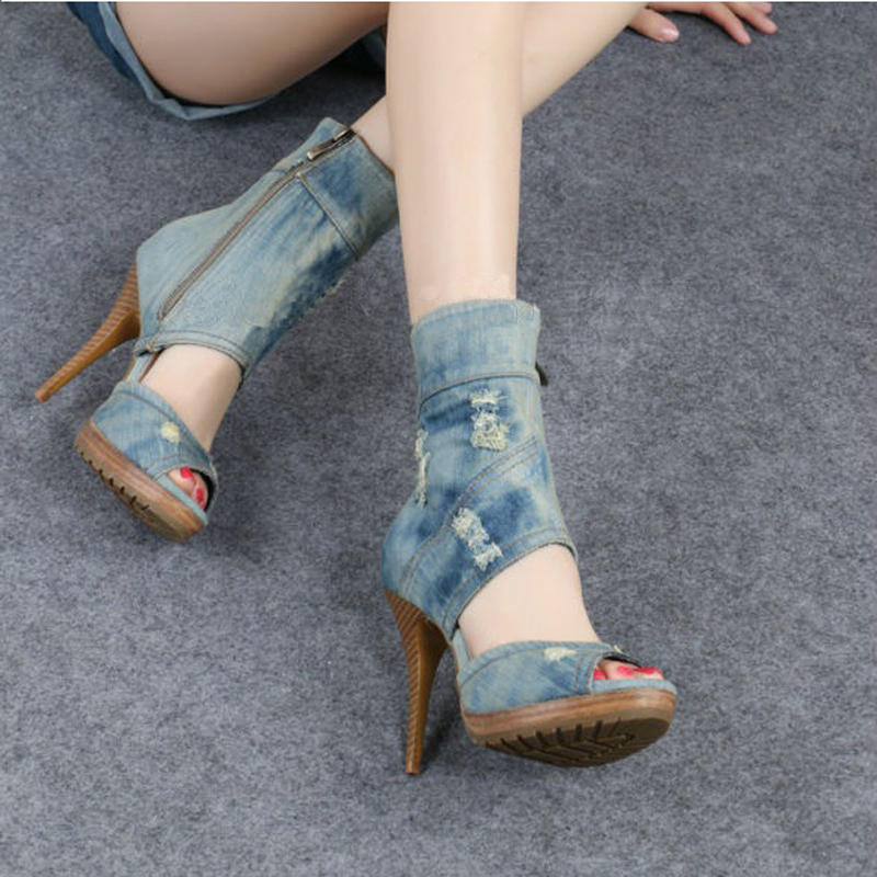 Peep Toe Gladiator Blue Jeans Cut-outs Sandal Boots High Heeled Platform Women Summer Short Boots Shoes Denims Hollow Out Shoes 2017 summer newest wedge sandal for woman peep toe denim blue lace up platform sandal sexy embroidery gladiator sandal