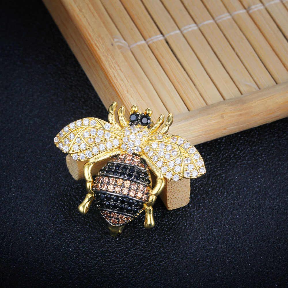 Cute Honey Bee Wanita Bros Hewan Serangga Bentuk Kristal Lebah Bros Pin Lencana untuk Pakaian Wanita Bros (Jewelora AS101718)