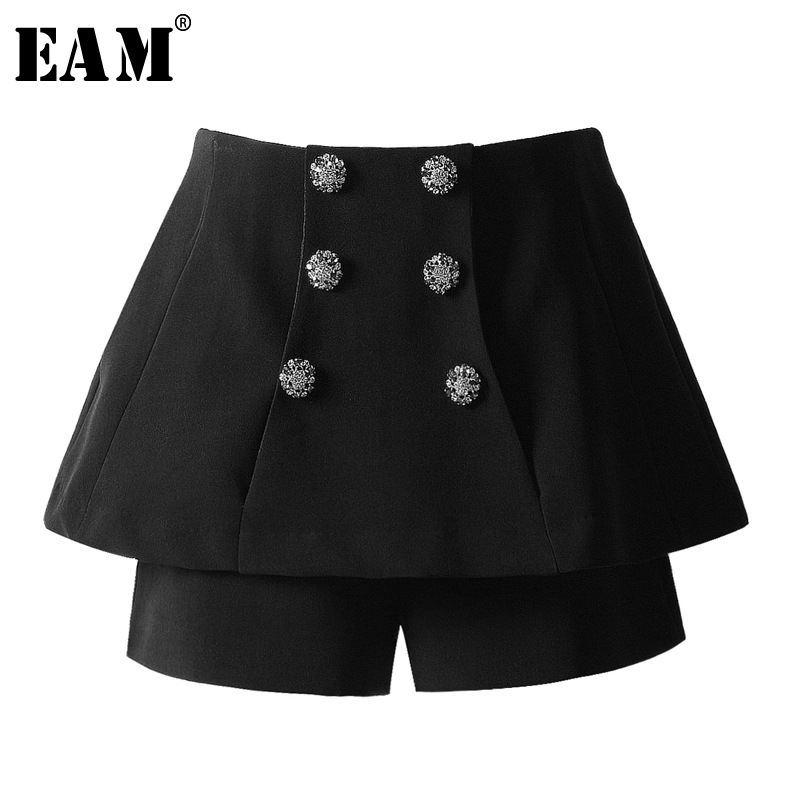 [EAM] 2019 New Spring Summer High Waist Loose Black Rhinestone Stitch False Two Wide Leg   Shorts   Women Trousers Fashion JS525