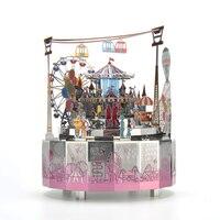 Fun Paradise Theme Rotating Music Box DIY Metal Music Box Paradise 3D Metal Puzzle,Assembly Toy,Brain Teaser,Musical Toy Gift