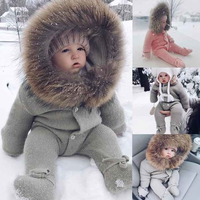1dcecf0cc2c Infant Baby Rompers Winter Clothes Newborn Baby Boy Girl Knitted Sweater  Jumpsuit raccoon Fur Hooded Kid Toddler Outerwear