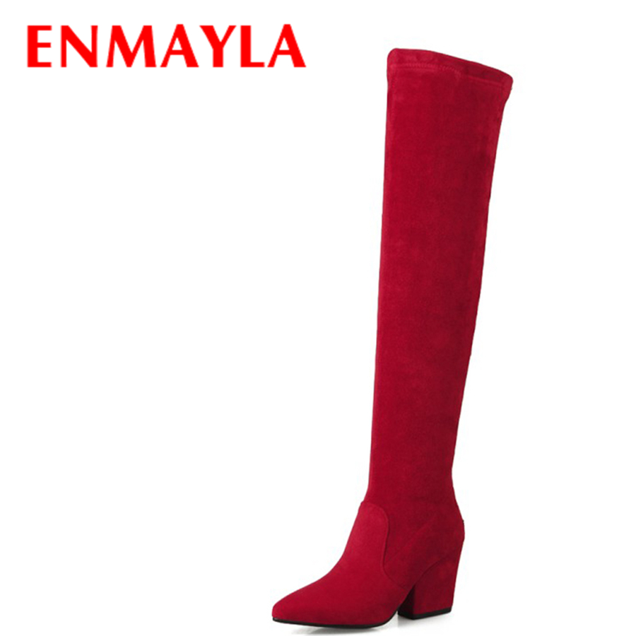 ENMAYLA Winter Autumn Shoes Woman High Heels Over the kneed Long Boots Women Black Faux Suede Chunky Heels Though High Boots enmayla autumn winter chelsea ankle boots for women faux suede square toe high heels shoes woman chunky heels boots khaki black
