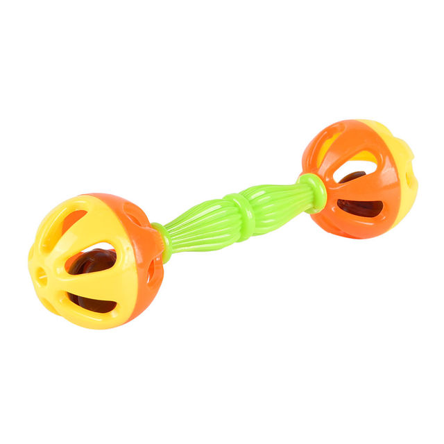 New 2Pcs Shaking Dumbells Hand Bell Early Educational Development Toys Wholesale Random color Baby Kid Two-head Rattle Bells Toy 2