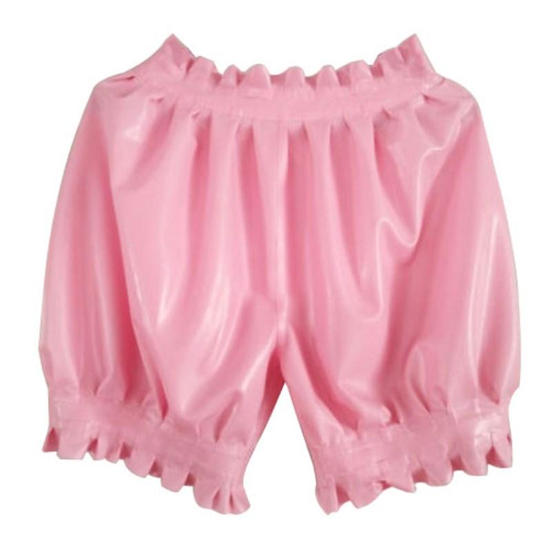 Latex 100% Rubber Boxer Shorts Briefs Underwear Men Handmade Ruffle Pleated Shorts 2019 Hot Sales Fashion Cool Size S-XXL