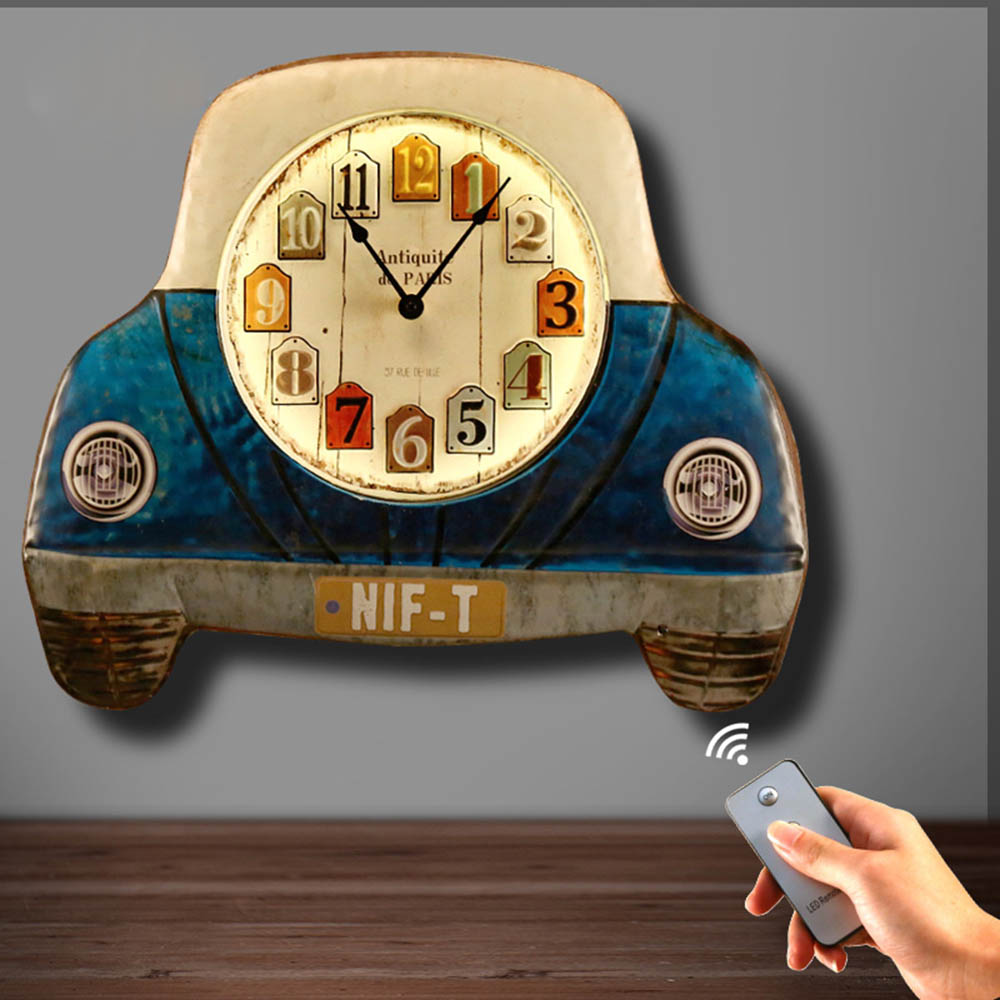 Vintage Children Bedroom Bedside Car Front Wall Clock Sconce Wall Light Light Fixture Bed Design LED Wall Lamp Art Ornament Gift