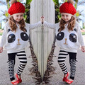 New Autumn Baby Girls 2pcs Clothes Sets Fashion Cartoon Panda Clothing Batwing Sleeve Tops Stripe Pants Toddlers Kids Outfits