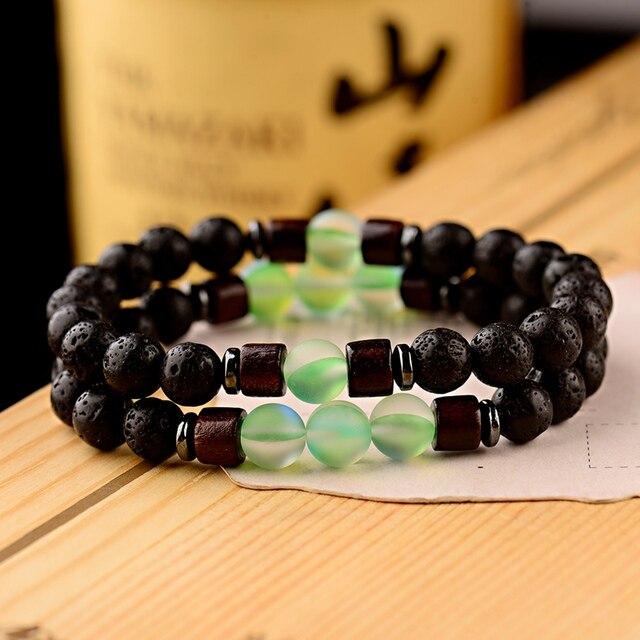Bracelet distance pierre de lave vert