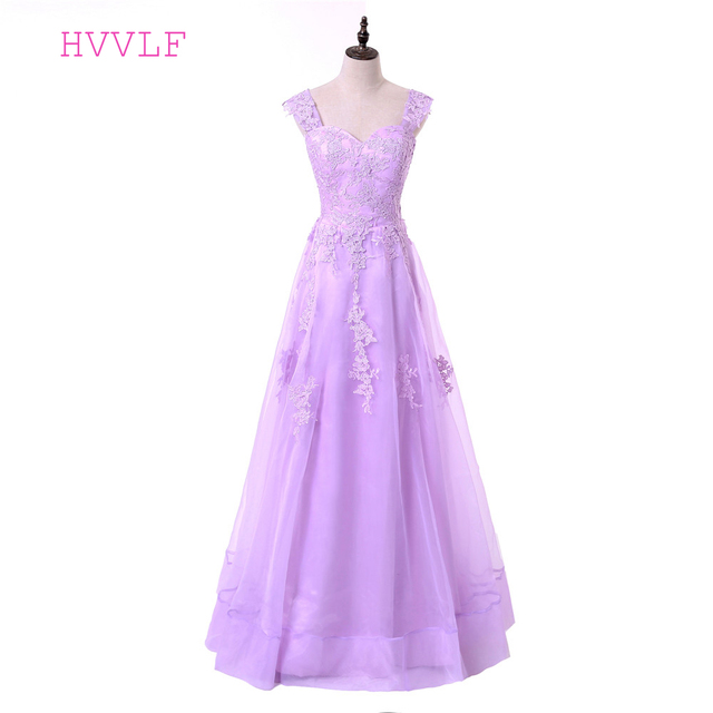 Lavender Evening Dresses 2018 A line Cap Sleeves Tulle Lace ...