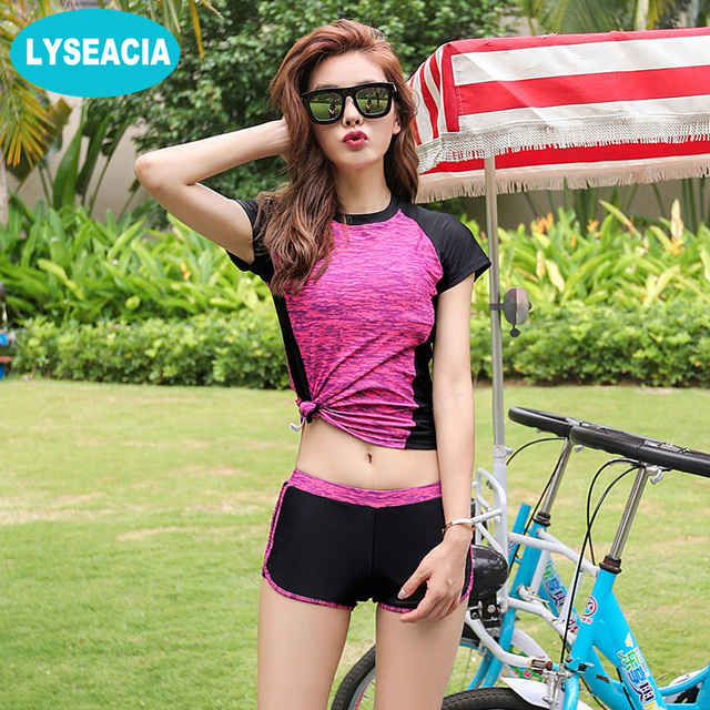 af9f549d125 LYSEACIA M-5XL Girls Tankini Swimsuits Large Sizes Two Piece Swimwear Women  Short Sleeve Summer 3 Colors Women s Swimming suit