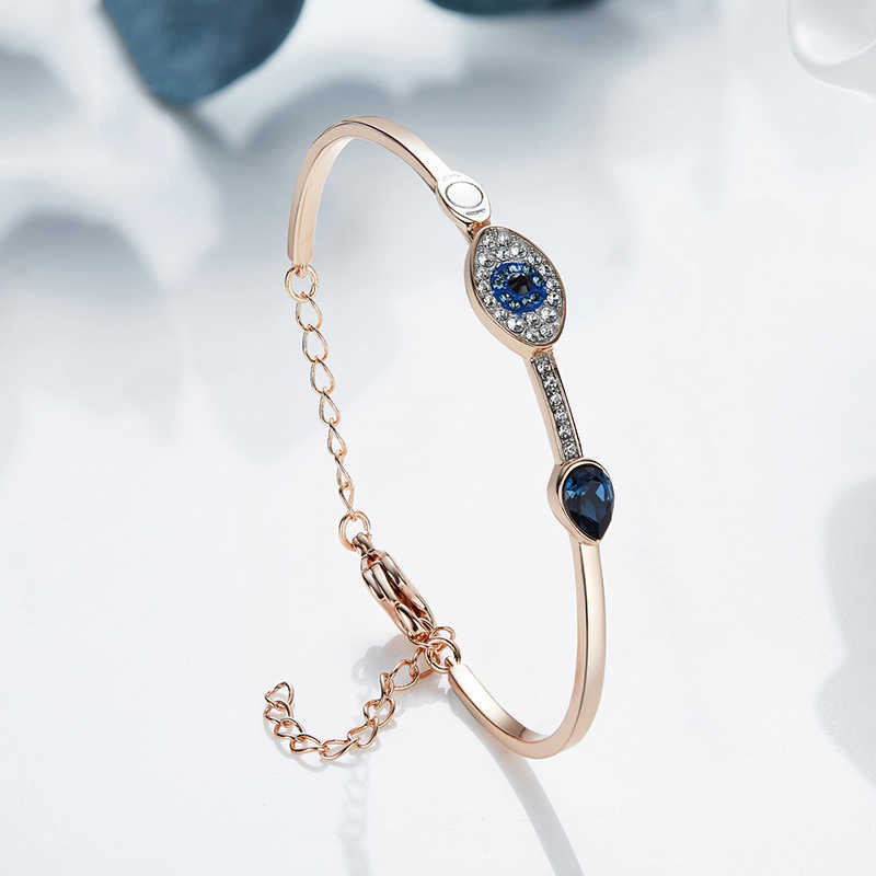 Модные высокое качество глаз Шарм розовое золото цвет браслеты кристалл от  SWAROVSKI для женщин свадьбы Брендовые 8aef9d71ac5