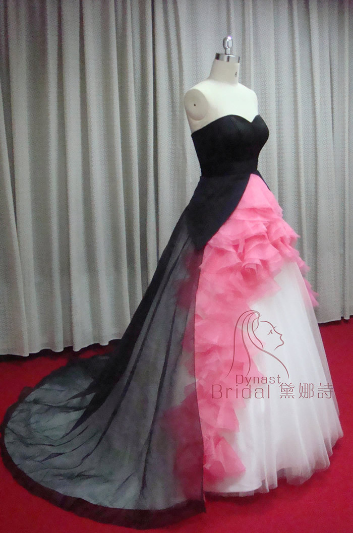 Emejing black and pink wedding dresses pictures styles for White and hot pink wedding dress