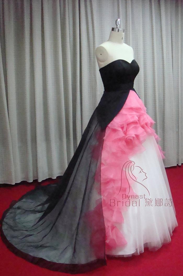 taffeta tulle organza royal train ruched hot pink black white
