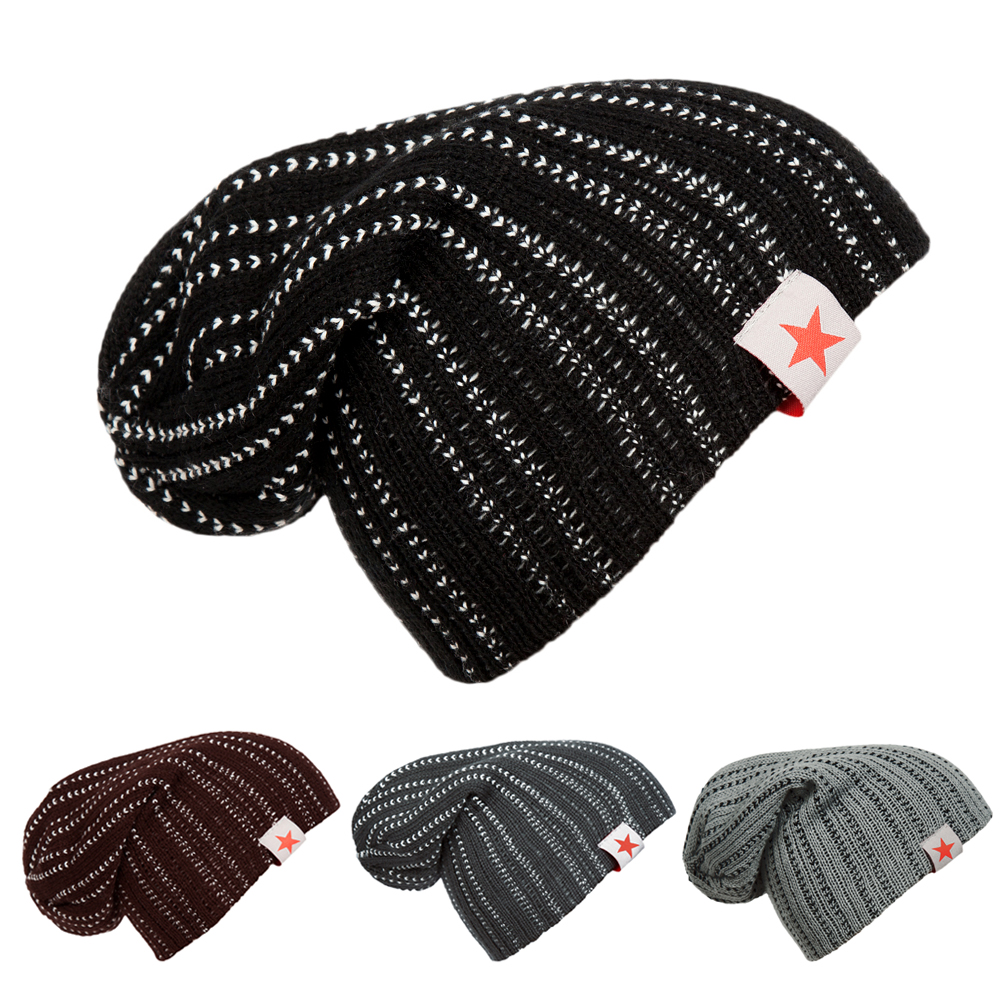 2016 NEW Hot Unisex Winter Plicate Baggy Beanie Knit Crochet Hat oversized Cap hot sale unisex winter plicate baggy beanie knit crochet ski hat cap