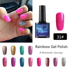 CHIVENIDO 12Colors Rainbow UV Gel Varnish Hybrid Neon Nails Art Lucky Glaze Nail Polish for Colorful