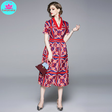 2019 new summer and European temperament V-neck short-sleeved print waist slimming a word long holiday dress v neck long sleeved abstract striped slimming dress