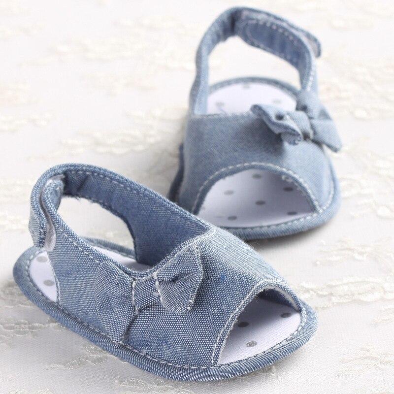 2018 Summer Denim Blue Baby Girls First Walkers Indoor Elastic Lace Princess Slippers Prewalkers Shoes