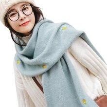0e0f8db1cf5e Tricoté Broderie Ananas Châle Femmes Épais Cachemire Écharpe Longue Section  Volé Poncho De Mode Impression Écharpe Chaude pour l.