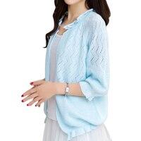 Female Cardigan Sweater Spring Short Design Thin Summer Knitted Shirt Autumn Outerwear Shawl Coat Hollow Ruffles