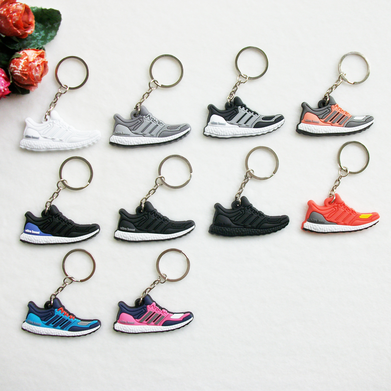 цена на Mini Silicone Ultra Boost Keychain Bag Charm Woman Men Kids Key Ring Gifts Sneaker Key Holder Accessories Jordan Shoes Key Chain
