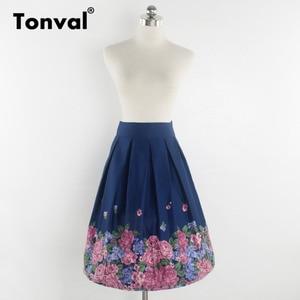 Image 5 - Tonval Retro Họa Tiết Vintage Xếp Ly Chân Váy Nữ 2019 Cao Cấp Plus Kích Thước Váy Midi Cotton Mùa Hè 4XL Đầm Váy